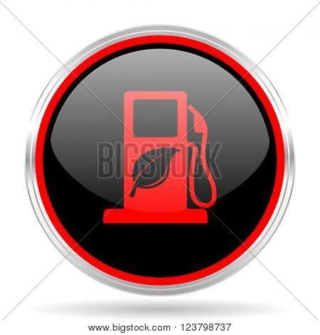 biofuel black and red metallic modern web design glossy circle icon