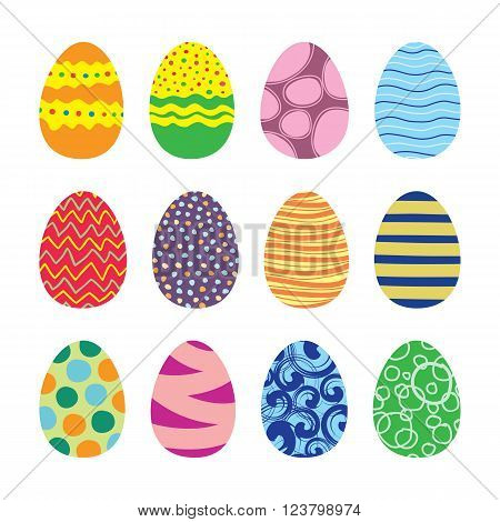 Easter eggs. Vector set of easter eggs icons in flat style. Easter eggs isolated on white. Easter eggs symbols in various colors. Easter eggs collection of design elements. EPS8 vector illustration.