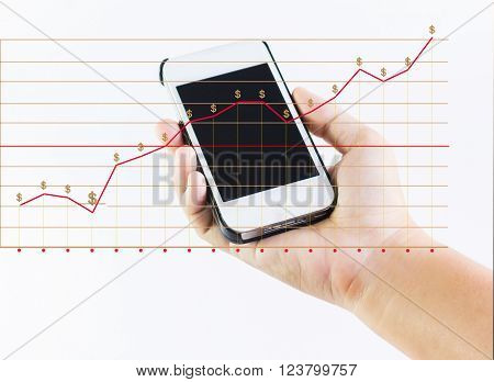 Hand Holding Cellphone With Business Earning Diagram And Dollar Sign On White