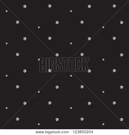 Silver foil glitter polkadot seamless dark pattern. Vector shimmer abstract circles texture. Sparkle shiny balls background.