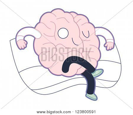 Supremacy - haughty satisfied brain sitting on the sofa flat cartoon vector illustration. A part of the Brain collection.