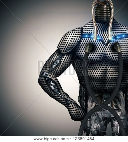 cyborg body in industrial production line without the head