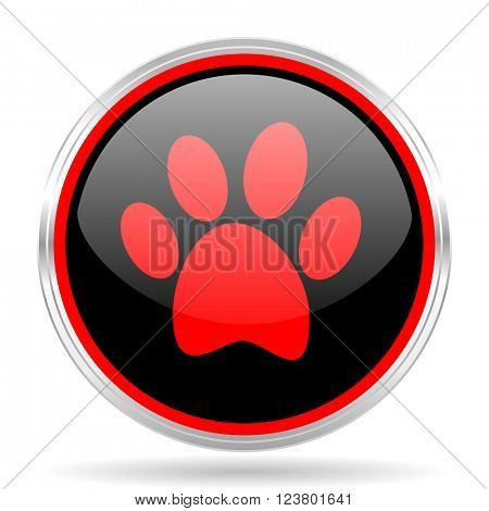foot black and red metallic modern web design glossy circle icon