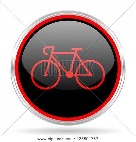 bicycle black and red metallic modern web design glossy circle icon