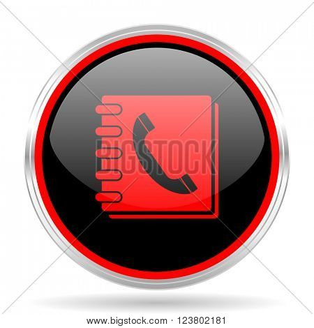 phonebook black and red metallic modern web design glossy circle icon