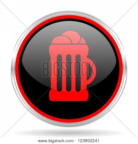 beer black and red metallic modern web design glossy circle icon