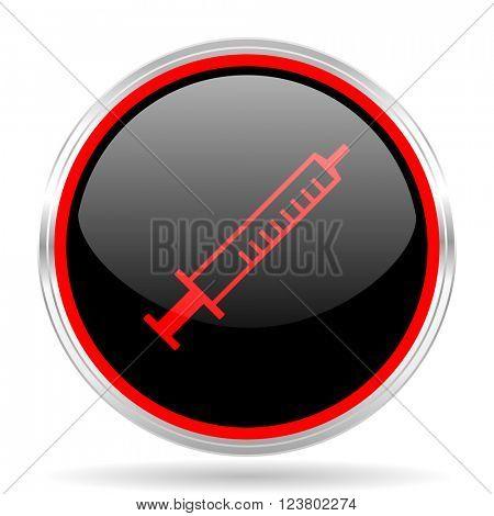 medicine black and red metallic modern web design glossy circle icon