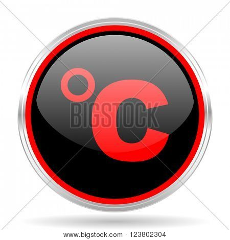 celsius black and red metallic modern web design glossy circle icon