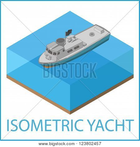Motor Yacht Icon. Rowboat flat vector illustration. Motorized speedboat isometric. Motorboat isometric flat vector pictogram.