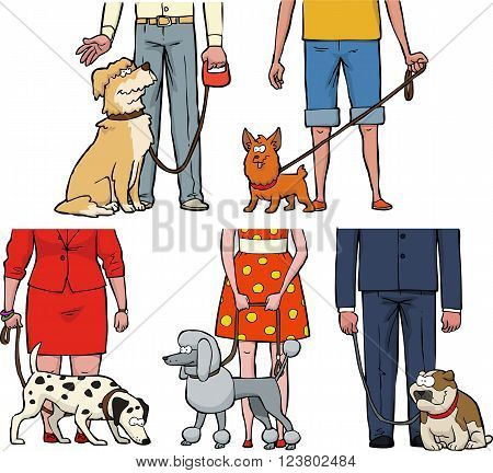 Five dogs and their owners vector illustration