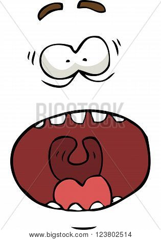 Cartoon screaming face on a white background vector illustration