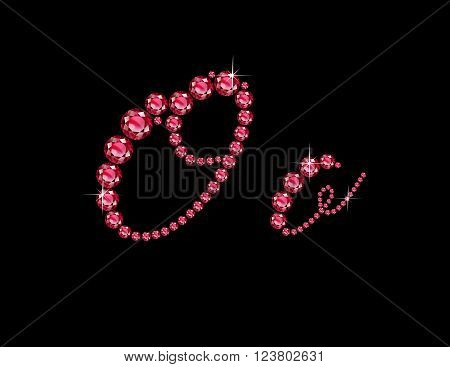 Oo in stunning Ruby Script precious round jewels isolated on black.