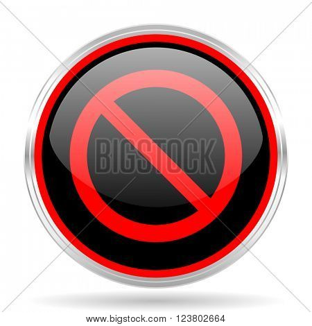 access denied black and red metallic modern web design glossy circle icon