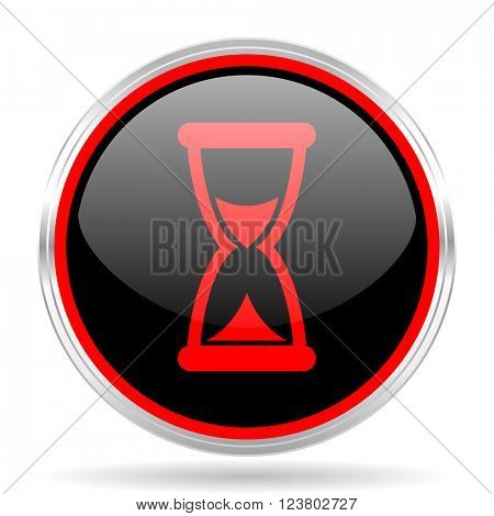 time black and red metallic modern web design glossy circle icon