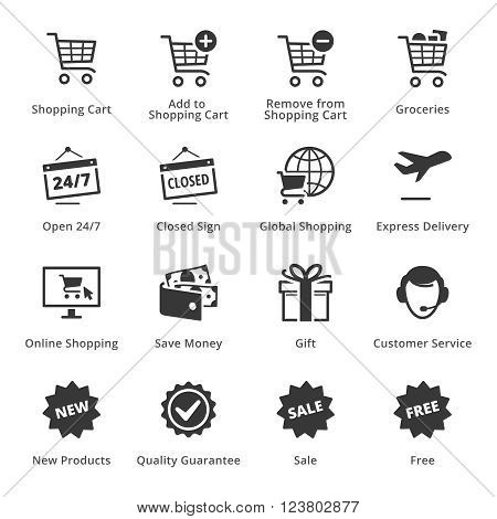 E-commerce Icons - Set 2. This set contains e-commerce icons that can be used for designing and developing websites, as well as printed materials and presentations.