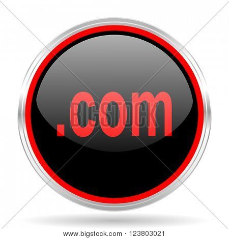 com black and red metallic modern web design glossy circle icon
