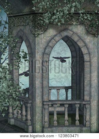 Fantasy landscape in the a dark forest 3D Rendering
