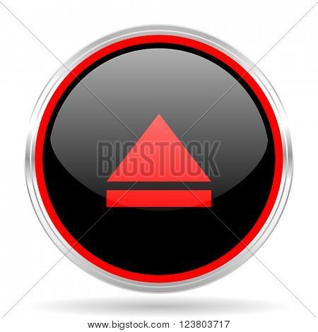 eject black and red metallic modern web design glossy circle icon