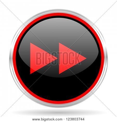 rewind black and red metallic modern web design glossy circle icon
