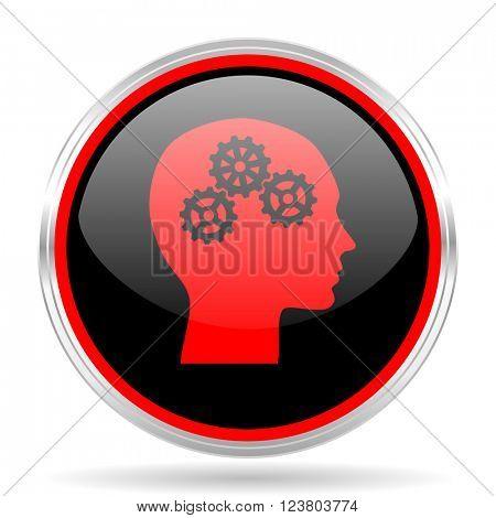 head black and red metallic modern web design glossy circle icon