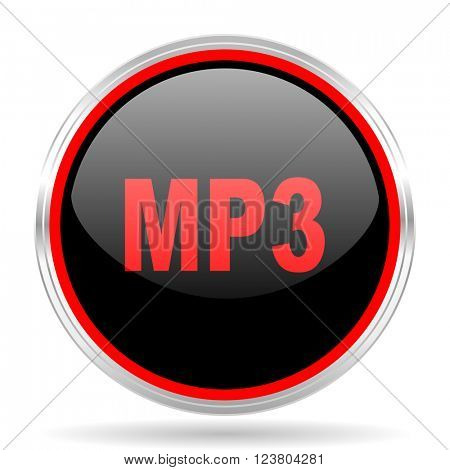 mp3 black and red metallic modern web design glossy circle icon