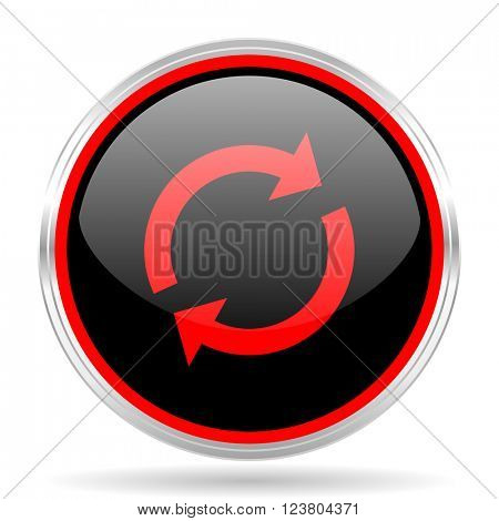 reload black and red metallic modern web design glossy circle icon
