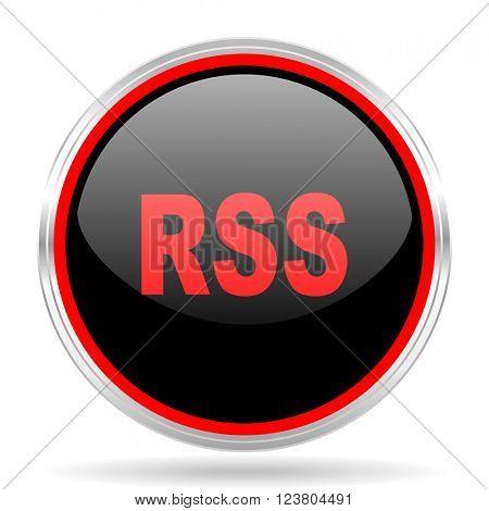 rss black and red metallic modern web design glossy circle icon