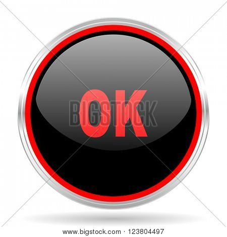 ok black and red metallic modern web design glossy circle icon
