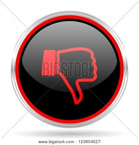 dislike black and red metallic modern web design glossy circle icon