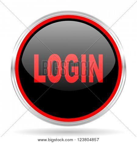 login black and red metallic modern web design glossy circle icon