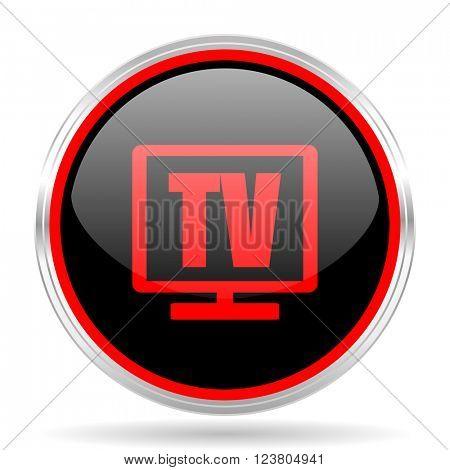 tv black and red metallic modern web design glossy circle icon