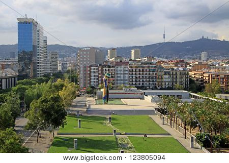 Barcelona, Catalonia, Spain - August 28, 2012: Joan Miro Park In Barcelona