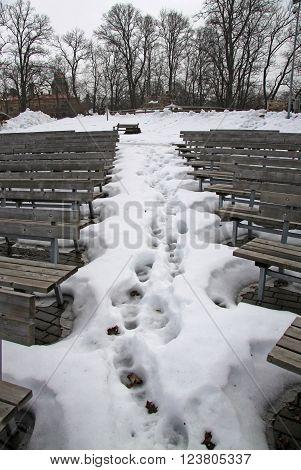 SIGULDA LATVIA - MARCH 17 2012: Amphitheater at Sigulda castle
