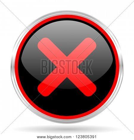 cancel black and red metallic modern web design glossy circle icon