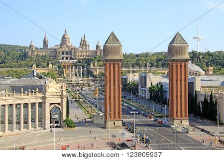 Barcelona, Catalonia, Spain - August 28, 2012: Square Of Spain With Venetian Towers And National Mus