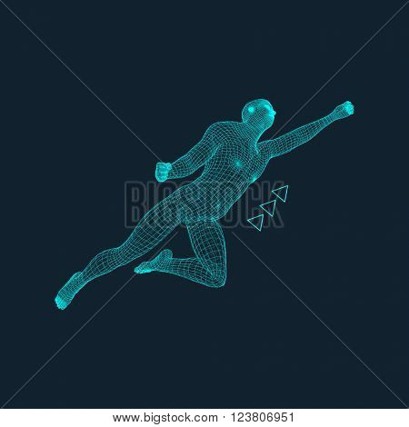 Jump Man. Polygonal Design. 3D Model of Man. Geometric Design. Business, Science and Technology Vector Illustration. 3d Polygonal Covering Skin. Human Polygon Body.