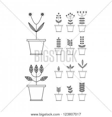 Set with Flowerpot Icons. Nature Collection. Flora Elements. Eco Signs. Vector Illustration.