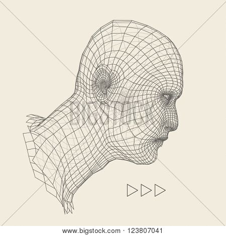 Head of the Person from a 3d Grid. Human Head Wire Model. Human Polygon Head. Face Scanning. View of Human Head. 3D Geometric Face Design. 3d Polygonal Covering Skin.
