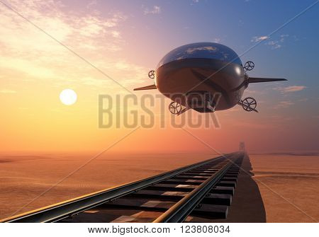 Modern airship over the railway. 3D rendering