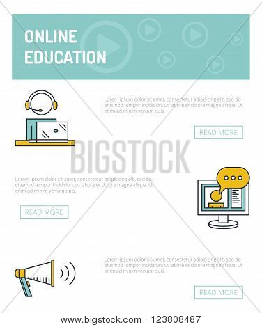 Online education concept template. Vector outline illustration of webinar, online conference, lectures and training in internet. Man watching or holding online webinar.