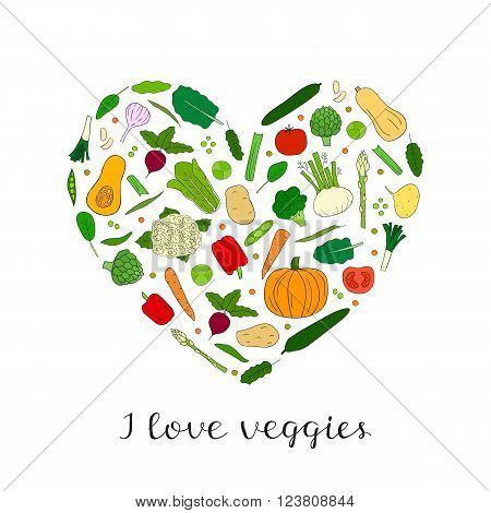 Hand drawn vegetables in heart shape. Butternut squash, brussels sprouts, fennel, collard, artichoke, cauliflower, beet, tomato, cucumber, pumpkin, broccoli, pepper, maca, potato, spinach, carrot.