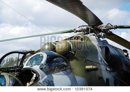 RADOM POLAND - AUGUST 31: Mi-35 Mi-24. International Air Demonstrations AIR SHOW 2009. August 31, 2009 in Radom, Poland.