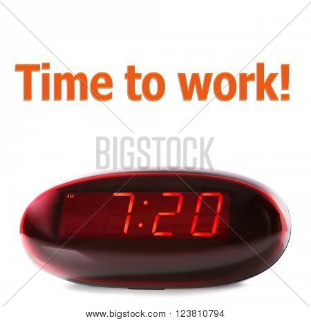 Digital clock showing 7:20 o'clock isolated on white