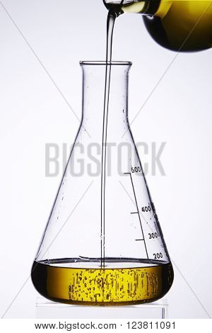 bio fuel being poured into a glass beaker
