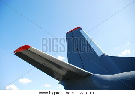 RADOM, POLAND - AUG. 31: Aircraft tail on the background of blue sky. International Air Demonstrations AIR SHOW 2009. August 31, 2009 in Radom, Poland.