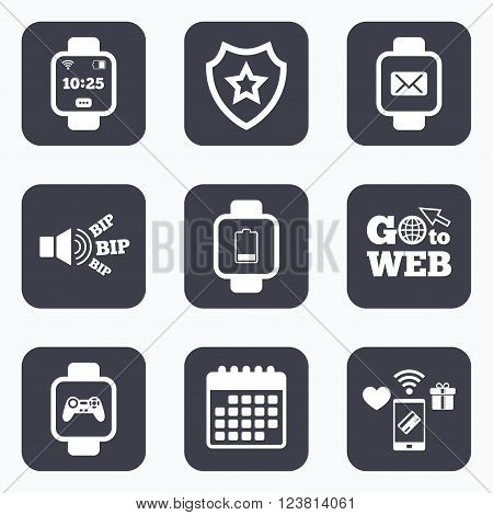 Mobile payments, wifi and calendar icons. Smart watch icons. Wrist digital time watch symbols. Mail, Game joystick and wi-fi signs. Go to web symbol.