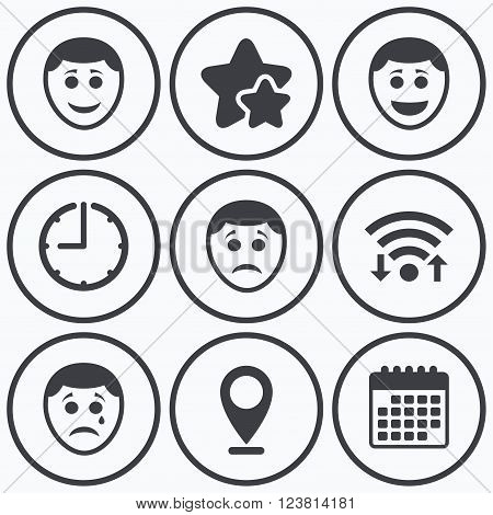 Clock, wifi and stars icons. Human smile face icons. Happy, sad, cry signs. Happy smiley chat symbol. Sadness depression and crying signs. Calendar symbol.
