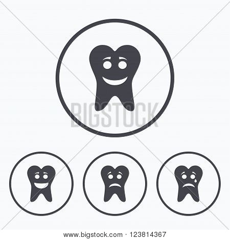 Tooth smile face icons. Happy, sad, cry signs. Happy smiley chat symbol. Sadness depression and crying signs. Icons in circles.