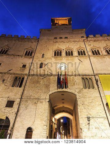 Architecture of Perugia at night. Perugia Umbria Italy