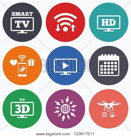 Wifi, mobile payments and drones icons. Smart TV mode icon. Widescreen symbol. High-definition resolution. 3D Television sign. Calendar symbol.